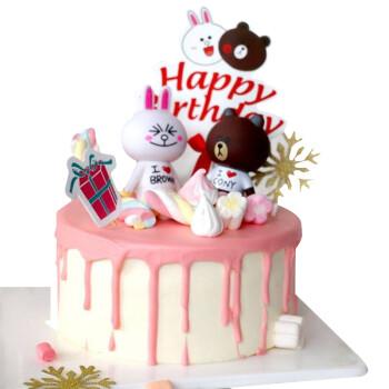 网红布朗熊可妮兔创意生日蛋糕抖音ins广州深圳北京上海成都重庆全国