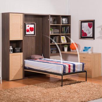 多功能折叠隐形床 创意家具 书柜壁床 办公室床 壁柜床 带书桌衣柜 w