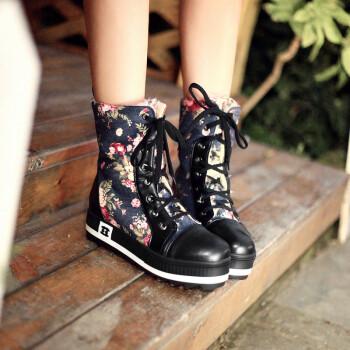 欧瑞佳女士碎花牛仔布女雪地靴系带平底女短靴马丁靴 黑蓝色 39
