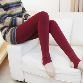 黄色网站唭��_唛咔唭打底裤 女 加绒加厚拉毛踩脚裤 糖果色保暖一体