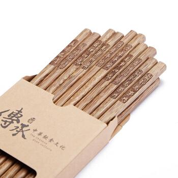 鸡翅木筷子家用无漆无蜡木质快子实木餐具10双家庭套装 阖家欢乐/10双(送木勺)