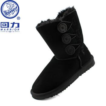 回力雪地靴 女式中筒中帮三扣保暖雪地靴 黑色 35