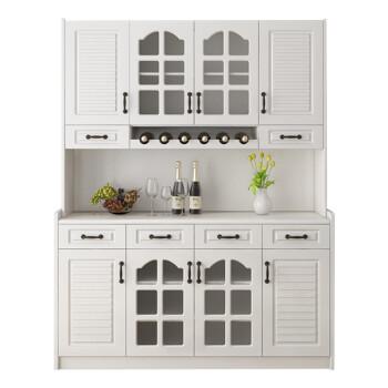 柜高柜酒柜客廳儲物柜茶水柜多功能白色碗柜廚房收納 創意b64白款 6門