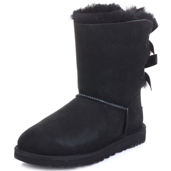 UGG australia BAILEY BOW 女士羊毛皮中筒雪地靴 黑色 38