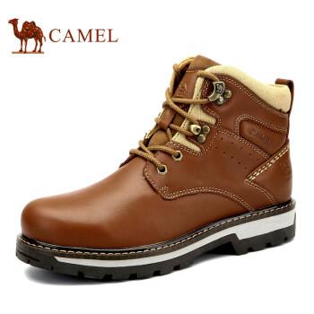 骆驼(CAMEL)牛皮系带保暖骆驼男鞋马丁靴 土黄 42