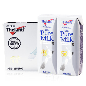纽仕兰牧场 4.0g蛋白质 全脂纯牛奶 250ml*3精致装 新西兰进口