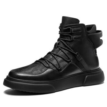 HT皓顿 男靴马丁靴男士牛皮拼接高帮鞋时尚靴子男 189黑色 38