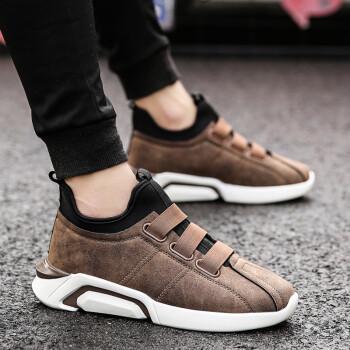 隐形增高鞋男 时尚男士内增高鞋 运动休闲鞋男鞋潮鞋子 30111皮面-棕色 40码增高6cm