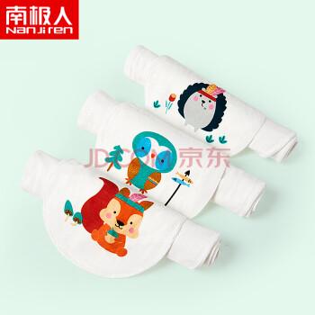 南极人(Nanjiren) 儿童吸汗巾纯棉垫背巾宝宝幼儿园全棉婴儿隔汗巾加大码 小灰兔+小棕熊+小狐狸-19*39cm