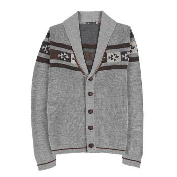 SOL ALPACA 男士灰色秘鲁原产小羊驼毛阿尔巴卡休闲开衫针织衫 14467 C002 M