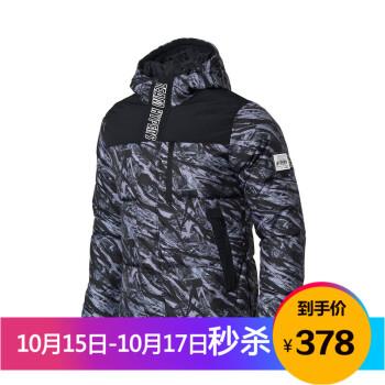 李宁 LINING AYMM101-2 运动时尚系列 男 短羽绒服 标准黑组合色匹印 XL码