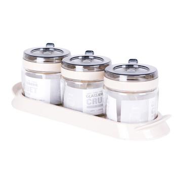 禧天龙Citylong玻璃调料盒套装调味罐调味盒调料罐3件套带置物架H-8040