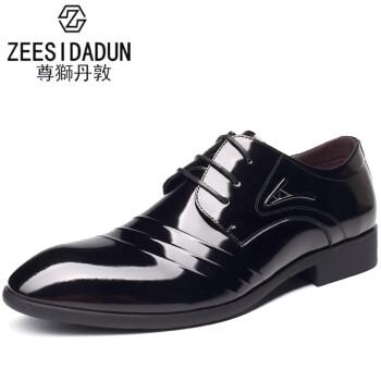 尊獅丹敦ZEESIDADUN 2016新款亮皮皮鞋男士漆皮正装鞋新款牛皮商务鞋真皮新郎婚鞋 黑色 40