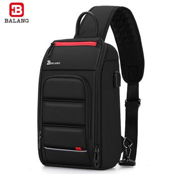 巴朗(BALANG)男士胸包个性大容量多功能潮流商务休闲运动单肩斜款包胸包男随身包 黑色