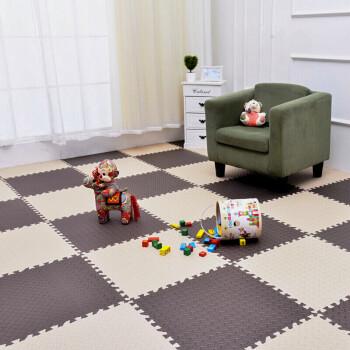 极易家 地垫家纺 宝宝爬行垫儿童卧室拼图地板 加厚拼接泡沫爬爬垫榻榻米地毯坐垫 30*30cm 9个装 米咖