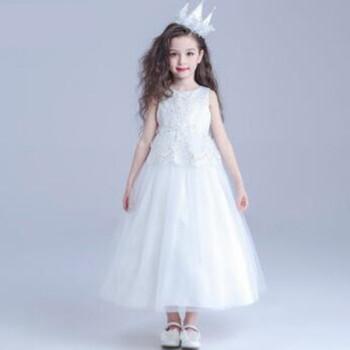 禮服公主裙走秀白花童婚紗兒童主持演出服長裙晚禮服新款 白色裙子送