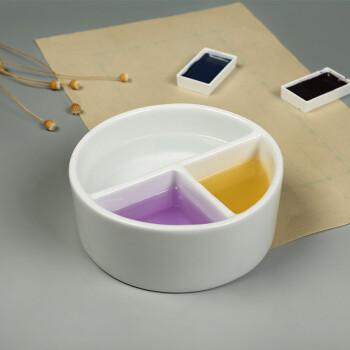 弘梅白瓷笔洗水洗 陶瓷圆形小调色盘水盂 文房颜料绘画用墨池