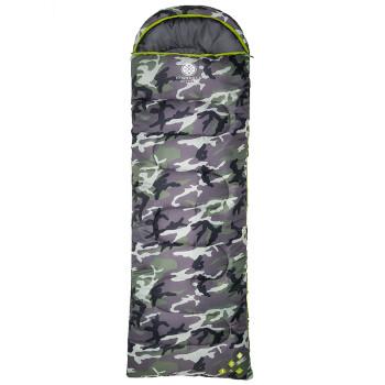 天石(HighRock)户外春秋冬三季信封式露营带帽可拼接睡袋 香杉350g左开 迷彩色