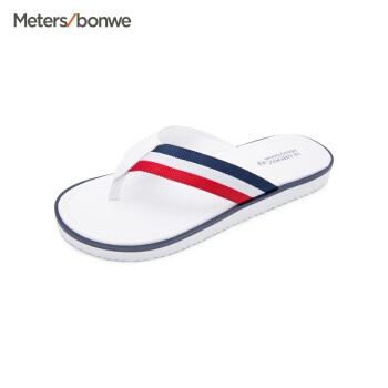 【2件5折】美特斯邦威拖鞋男新款男航海风格人字带拖鞋22279 白色组 40