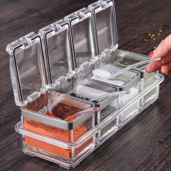 SenseYo 欧式调味瓶调味罐 亚克力调料盒套装 有机玻璃调味盒 厨房用品 调味盒带不锈钢包边