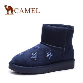 骆驼(CAMEL) 女鞋 秋冬新款 欧美风舒适中筒女靴 保暖雪地靴 蓝色 38