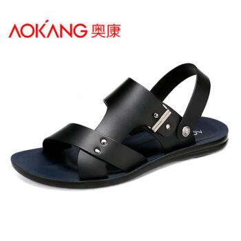奥康凉鞋 男 夏季新款露趾牛皮男士休闲凉皮鞋沙滩鞋 黑色153619012 41