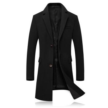 羊毛呢大衣男 2020春秋修身中长款呢子大衣 男士商务休闲加绒加厚大码过膝风衣外套潮 -深灰色 XL