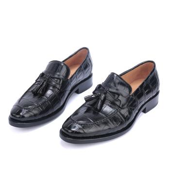 VGVG维塔斯格拉乔夫  鳄鱼皮鞋男 固特异纯手工定制鞋 商务休闲男鞋厂家正品直销送人佳品 黑色 39