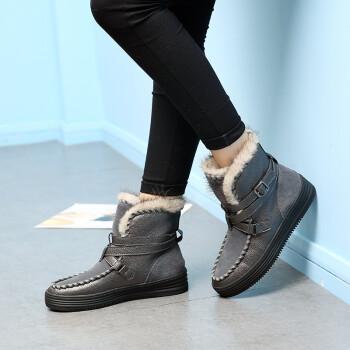 冬季新款韩版雪地靴皮带扣 厚底保暖 短靴 女 棉靴CQM 灰色 34