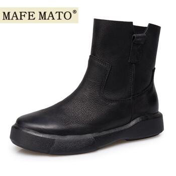 玛菲玛图平底马丁靴女英伦风真皮切尔西靴短靴009-17 黑色水牛油蜡皮/绒里 40码标准