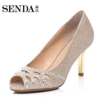 senda/森达春季专柜同款闪光布鱼嘴女单凉鞋3PK26AU6 金色 37