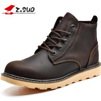 走索(Z.SUO)马丁靴男英伦男士高帮工装鞋男鞋加绒保暖男靴短靴 深棕色 40