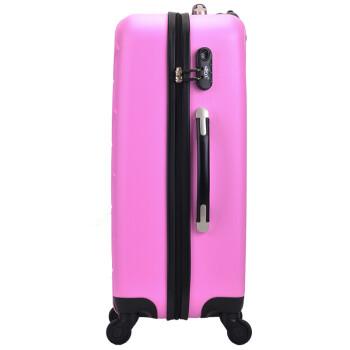 博兿(BOYI)拉杆箱男女万向轮旅行箱26英寸行李箱 ABS钻石纹系列 BY62003粉红色