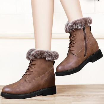 雪地靴女冬季新款防滑短靴休闲平底皮靴女防水学生女靴子加绒短筒靴子女 棕色 39