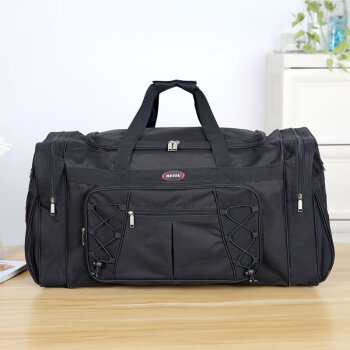 圣腾2019新款旅游包折叠搬家袋加厚特大男士大容量手提旅行包牛津布单肩防水行李包旅行袋托运包出差包 全黑色-大口袋 超大
