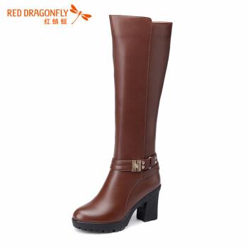 红蜻蜓女鞋高跟女靴冬季女鞋真皮靴子英伦风时尚长筒靴圆头粗跟骑士靴带铆钉搭扣侧拉链舒适百搭 棕色 36