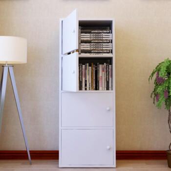 雅美乐四层带门板式书柜简易书架层架 储物收纳柜子木质暖白色 Y491