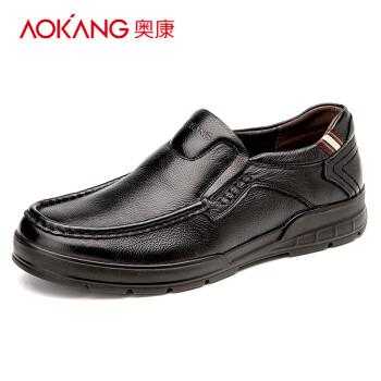 奥康男鞋 男士日常休闲鞋 舒适套脚耐磨男单鞋 黑色153311062 40