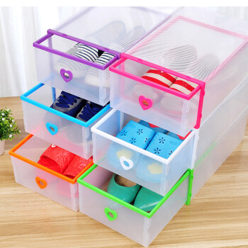 青苇 透明鞋盒 加厚抽屉式 组合塑料收纳盒 女款6个装 彩色