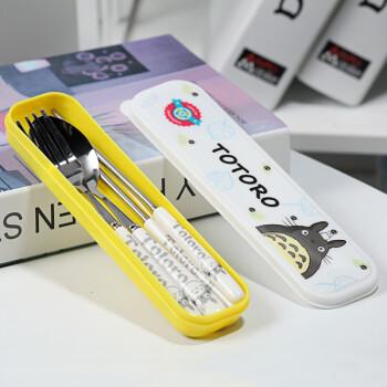 不锈钢勺子筷子叉子陶瓷便携餐具盒套装 学生餐具三件套可爱 大白