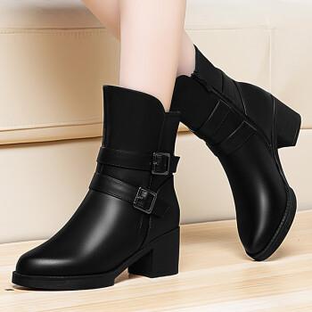 莱卡金顿短靴女秋冬新款圆头粗跟女靴子马丁靴女中筒靴 加绒保暖冬靴防滑时装靴 雪地靴女 黑色 36