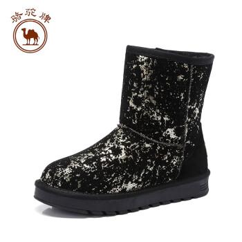骆驼牌女靴子 冬季时尚舒适套脚雪地靴保暖休闲鞋女鞋 金色 37