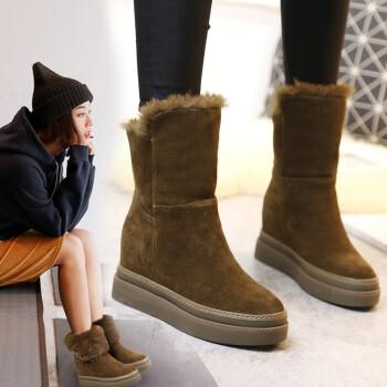 戈美缇雪地靴女冬季新款牛皮内增高雪地靴短筒厚底短靴防滑加厚棉鞋 卡其 37