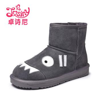 卓诗尼新款冬季平底雪地靴 卡通可爱加绒保暖女靴子 深灰色 35