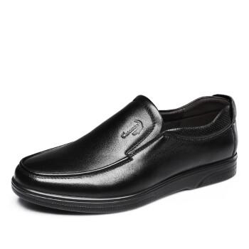 鳄鱼恤 CROCODILE 男鞋 商务休闲皮鞋圆头套脚青年皮鞋软底软面皮 WB6324314 黑色 41