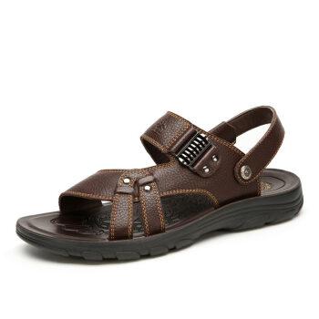 骆驼(CAMEL) 休闲透气牛皮露趾凉鞋 A622266422 棕色 41
