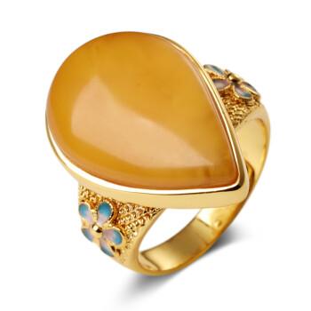 欧采妮 琥珀蜜蜡戒指蜜蜡戒指女款 925银掐丝珐琅工艺 附证书 Z00771