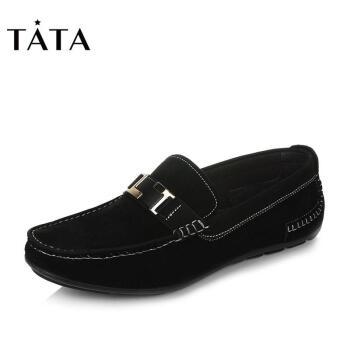 Tata/他她2017年豆豆鞋休闲鞋男鞋夏季新款驾车套脚透气懒人鞋2C293AM7 黑色 40