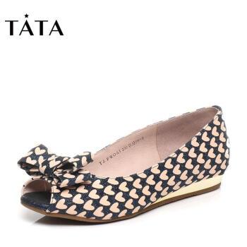 Tata/他她春季可爱甜美亮片布蝴蝶结坡跟女鱼嘴鞋FWOA1AU6 深兰色 37