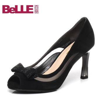 Belle/百丽专柜同款时尚鱼嘴女高跟鞋女凉鞋鞋BIT32AU6 黑色 37